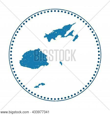 Fiji Sticker. Travel Rubber Stamp With Map Of Country, Vector Illustration. Can Be Used As Insignia,