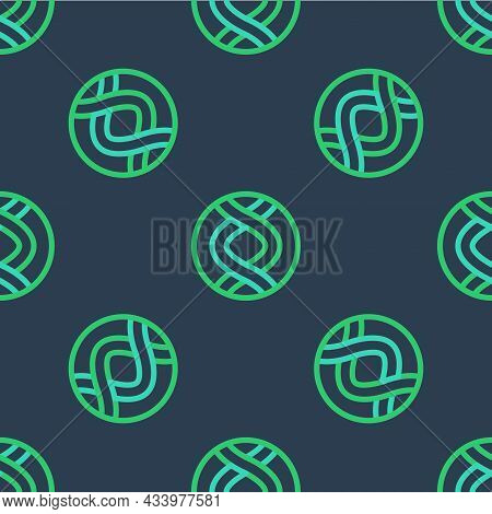 Line Dna Symbol Icon Isolated Seamless Pattern On Blue Background. Genetic Engineering, Genetics Tes