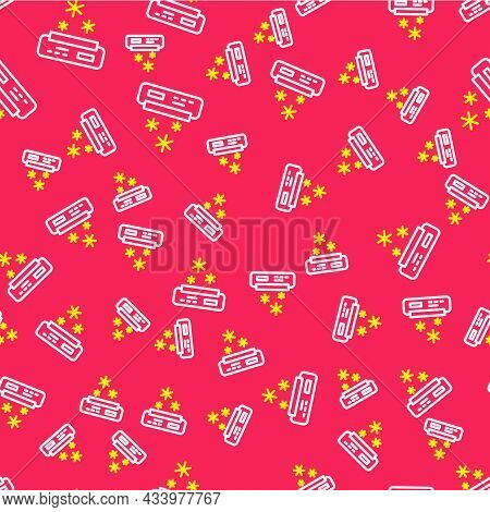 Line Air Conditioner Icon Isolated Seamless Pattern On Red Background. Split System Air Conditioning