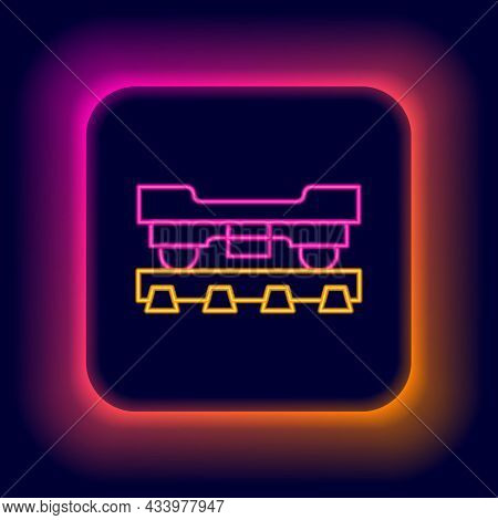 Glowing Neon Line Cargo Train Wagon Icon Isolated On Black Background. Freight Car. Railroad Transpo