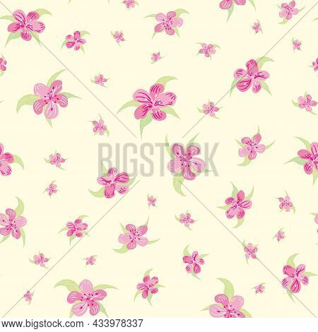 Sakura Blossom Seamless Vector Pattern Background. Scattered Cherry Petals Leaves Pink Pastel On Yel