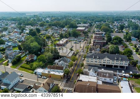 Aerial View Over The Small Town Landscape Residential Sleeping Area Roof Houses In Sayreville Nj Usa