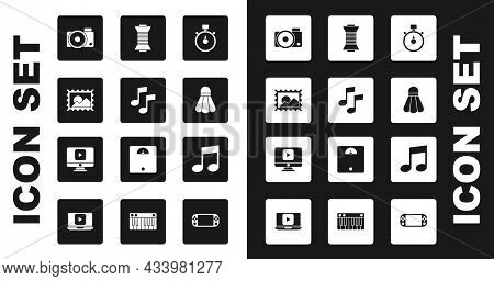 Set Stopwatch, Music Note, Tone, Postal Stamp, Photo Camera, Badminton Shuttlecock, Sewing Thread Sp