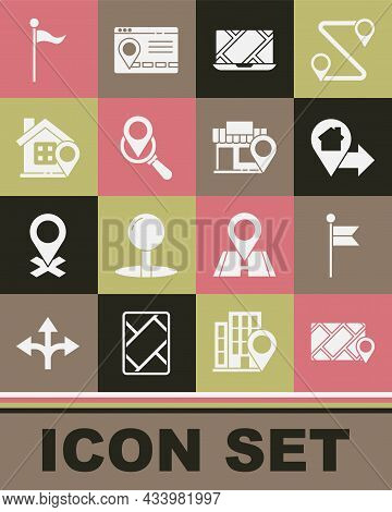 Set City Map Navigation, Location Marker, With House, Search Location, And Store Icon. Vector