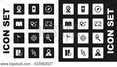 Set Compass, Route Location, Folded Map, Location, Gps Device With, City Navigation, Search And Mark