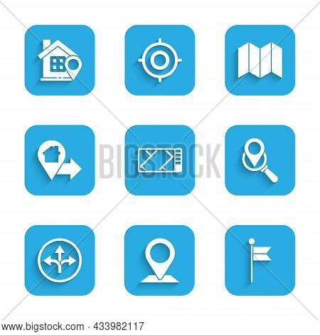 Set Gps Device With Map, Location, Marker, Search Location, Road Traffic Sign, House, Folded And Ico
