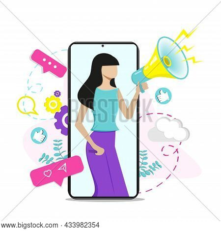 Woman Shouting In Loud Speaker. Social Media Marketing Concept And Blogger Influencer Vector Illustr