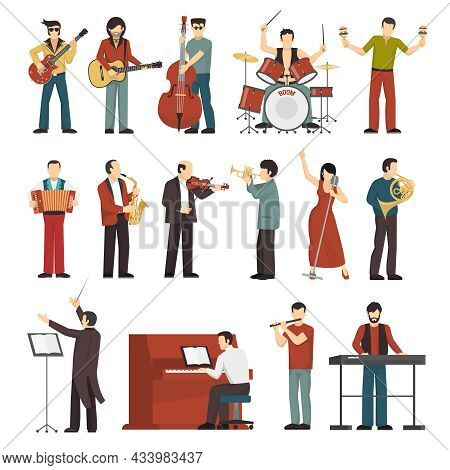Colored Musicians Figures With Different Musical Instruments Icons Set Of Conductor Guitarist Singer