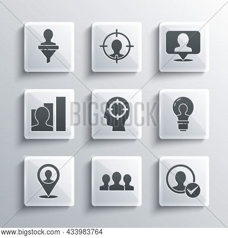 Set Users Group, Create Account Screen, Head With Lamp Bulb, Hunting, Location Person, Productive Hu