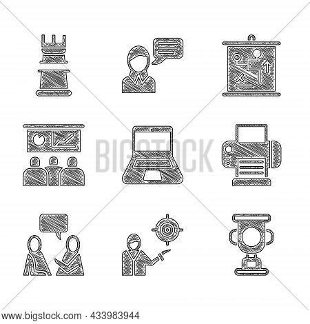 Set Laptop, Marketing Target Strategy, Award Cup, Printer, Two Sitting Men Talking, Training, Presen