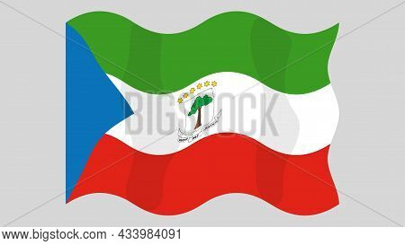 Detailed Flat Vector Illustration Of A Flying Flag Of Equatorial Guinea On A Light Background. Corre