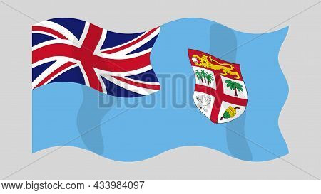 Detailed Flat Vector Illustration Of A Flying Flag Of Fiji On A Light Background. Correct Aspect Rat