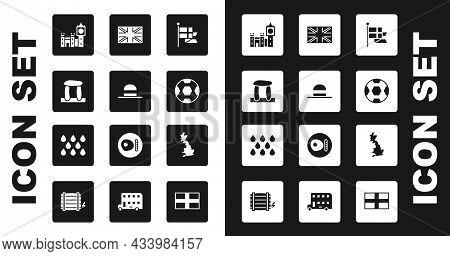 Set England Flag On Flagpole, Elegant Women Hat, Stonehenge, Big Ben Tower, Football Ball, Flag Of G
