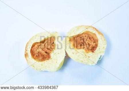 Bread Stuffed Dry Shredded Pork  Arranging On White Background