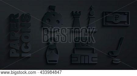 Set Mausoleum Of Lenin, Russian Ruble Banknote, Doll Matryoshka, Ice Hockey Stick And Puck, Chess An