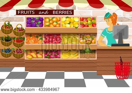 Shop With Fruits And Berries On The Counter.products In The Showcase And The Cashier In Color Vector
