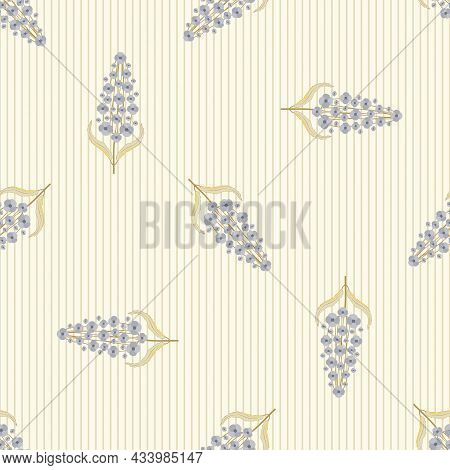 Buddleia Seamless Vector Pattern Background. Known As Butterfly Bush. Scattered Backdrop With Mauve