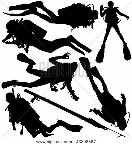Scuba diver and speargun vector silhouettes