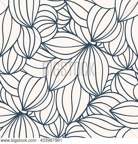 Monochrome Seamless Pattern With A Simple Abstract Drawing. Vector Illustration.