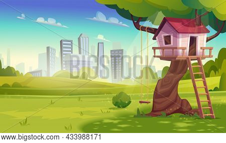Tree House For Playing In Kids Games With Swing, Ladder Against The Background Of City.country Woodl