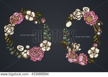 Dark Floral Wreath Of Ficus, Eucalyptus, Peony, Cotton, Freesia Brunia Stock Illustration