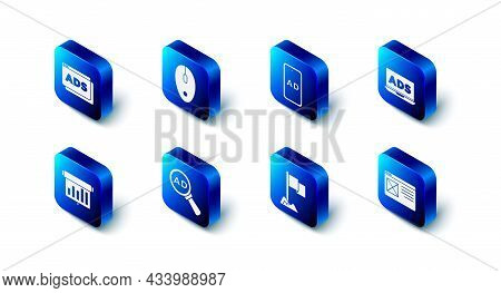 Set Computer Mouse, Advertising, Browser Window, Location Marker, Board With Graph Chart And Icon. V