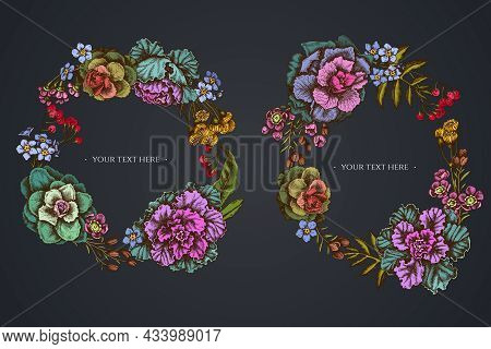 Dark Floral Wreath Of Wax Flower, Forget Me Not Flower, Tansy, Ardisia, Brassica, Decorative Cabbage