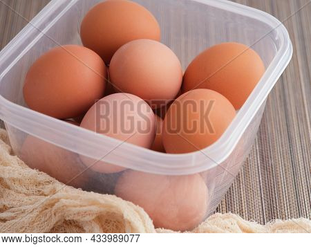 Hard Boiled Eggs In A Plastic Container. Close Up.
