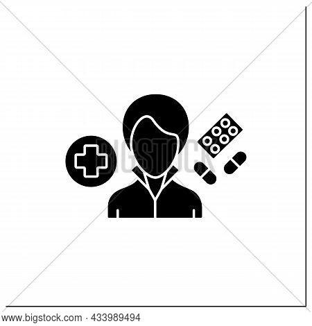 Pharmacist Glyph Icon. Woman Work In Pharmacies.store, Preserve, Provide Medicine. Important Job.pro