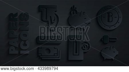 Set Inserting Coin, Bitcoin, Atm And Money, Piggy Bank Hammer, With And Credit Card Inserted Icon. V