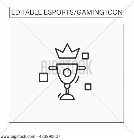 Esports Cup Line Icon. International Esports Competition. Winning Golden Prize. Cybersport Concept.