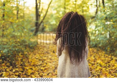 Back View Of Afro-haired Woman Wearing Warm Sweater Walk Alone In Autumn Park At Sunny Warm Day. Por