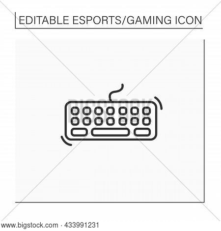 Keyboard Line Icon. Technical Equipment For Playing Video Games. Cybersport Concept. Isolated Vector