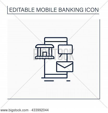 Sms Banking Line Icon. Send Notifications To Mobile Phones To Perform Some Financial Transactions Us