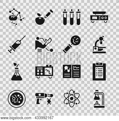 Set Test Tube Flask On Fire, Clinical Record, Microscope, Reagent Bottle, Prosthesis Hand, Syringe,