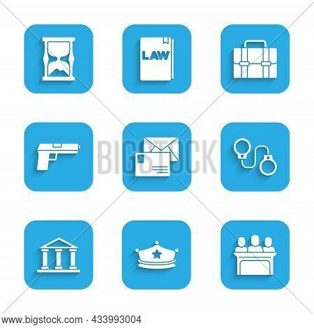 Set Envelope, Police Cap With Cockade, Jurors, Handcuffs, Courthouse Building, Pistol Gun, Briefcase