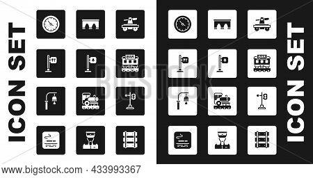Set Draisine Or Handcar, Road Traffic Signpost, Cafe Restaurant Location, Train Station Clock, Resta
