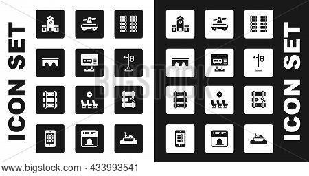 Set Railway, Railroad Track, Ticket Office To Buy Tickets, Bridge For Train, Station, Train Traffic