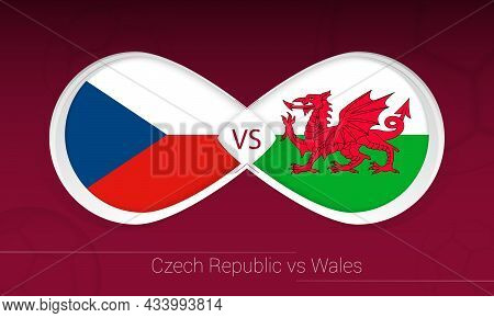 Czech Republic Vs Wales In Football Competition, Group E. Versus Icon On Football Background. Vector