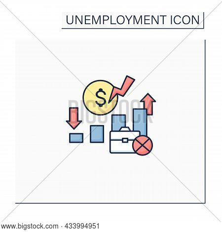 Unemployment Rate Color Icon. Unemployed Workers Graphs.increase And Decrease Labor Force In Percent