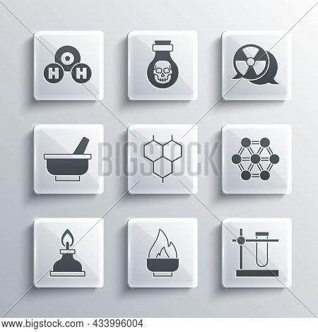 Set Alcohol Or Spirit Burner, Test Tube Flask On Stand, Molecule, Chemical Formula, Mortar Pestle, H