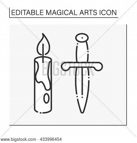 Magic Rituals Line Icon. Candle And Dagger. Sacrifice. Magical Arts Concept. Isolated Vector Illustr