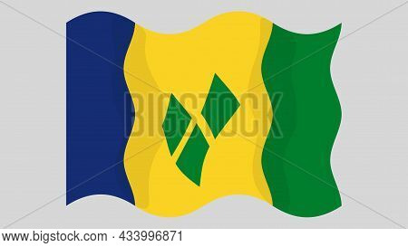 Detailed Flat Vector Illustration Of A Flying Flag Of Saint Vincent And The Grenadines On A Light Ba