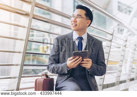 Portrait Business Asian Man , Senior Visionary Executives Leader With Business Vision On Business Di
