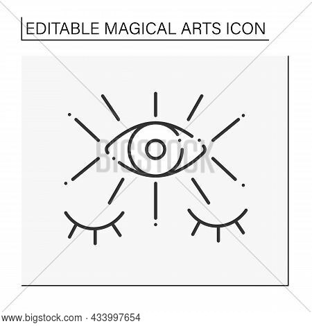 Fortune Teller Line Icon. Third Eye. Seecrees. Future Predictions. Magical Arts Concept. Isolated Ve