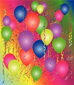 Party with balloons and a streamer a background poster