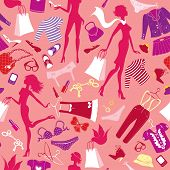 Seamless pattern in pink colours - Silhouettes of fashionable girls with colorful glamor clothes and accessories poster