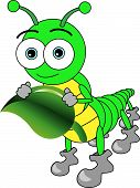 Vector illustration of a cute cartoon big eyed caterpillar holding a leaf. This eps file is AI8 compatible. poster