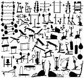 Collection of editable vector silhouettes of gym equipment poster