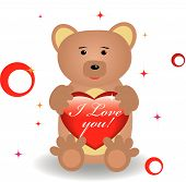 Cute bear with heart for st.Valentine day. Good for greeting card. Vector illustration. poster